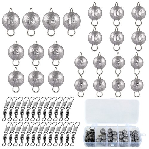 73pcs Fishing Weights Sinkers Barrel Swivels Snaps Kit Fishing Accessories Set with Free Tackle Box