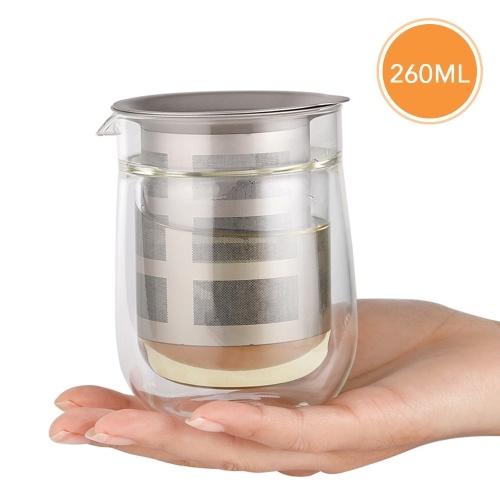 260ml Clear High Borosilicate Glass Teapot Kettle Tea Maker with Mesh Titanium Infuser