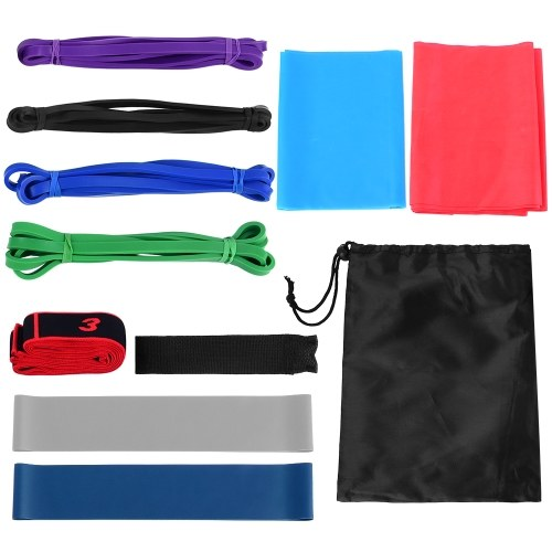 11pcs Fintess Resistance Bands Set Workout Exercise Loop Bands Yoga Stretch Strap with Carry Bag for Home Gym Travel Pilates Yoga Physical Therapy