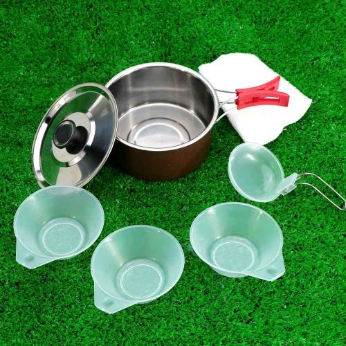 1-2人用のステンレス鋼ポット ポータブルアウトドアキャンプ/ピクニック/ハイキング用の調理器具のセ  ット