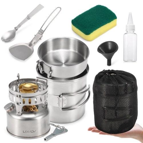 Lixada 9pcs Stainless Steel Camping Cookware Mess Kit