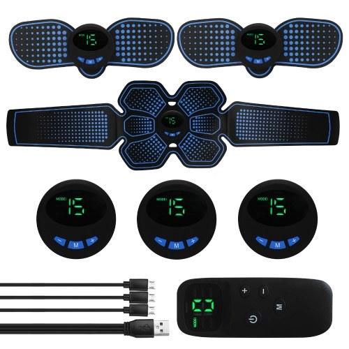 Muscle Trainer USB Eletroestimulação do músculo abdominal Acessórios multifuncionais de condicionamento físico ABS Esculpir massageador Pad Home Gym Massageadores de barriga