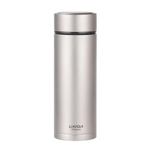 Lixada Двойные стенки с вакуумной изоляцией Титановая бутылка для воды Фляга для спорта на открытом воздухе Герметичная бутылка для воды с заваркой чая (380 мл)