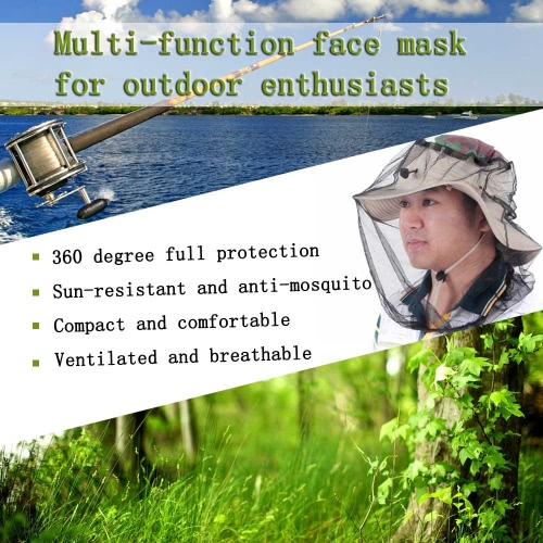 Máscara al aire libre anti-mosquitos sombrero de múltiples funciones de Protección acoplamiento de la cara Mosquito Net Head Hunters para los pescadores excursionistas de los campistas