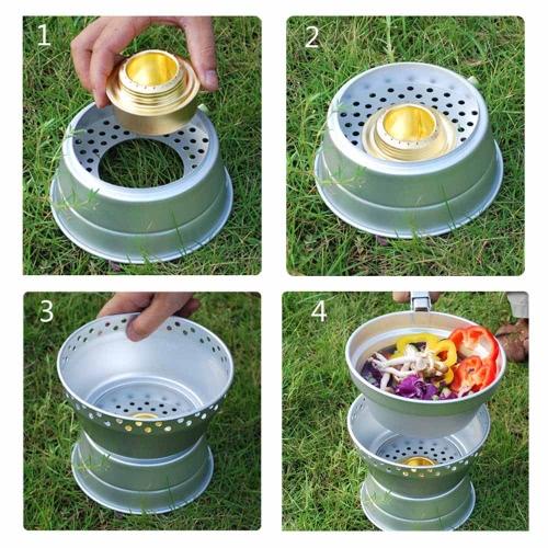 Camping excursiones de utensilios de cocina al aire libre juego de Picnic olla cacerola de cocina estufa estufa Alcohol Set