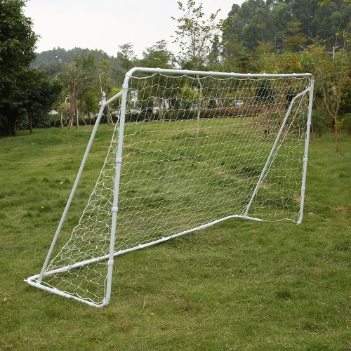 Lixada Soccer Goal 12' X 6' Portable Competition Football Net Detachable Iron Frame with Fastener Tape