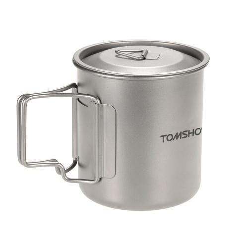 Taza que acampa de la comida campestre de la taza de agua de TOMSHOO 420ml Titanium con la tapa