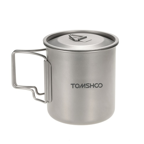 TOMSHOO 420ml Titanium Water Cup Picnic Camping Mug with Lid
