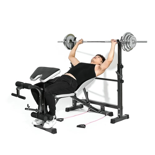 TOMSHOO Exercise Barbell Squat Rack Home Gym Fitness Workout Equipment