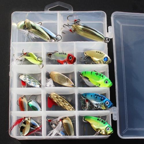 20pcs de pesca múltiple Lentejuelas metal señuelos de pesca cebos VIB alambre ganchos de los cebos señuelos de pesca con la caja