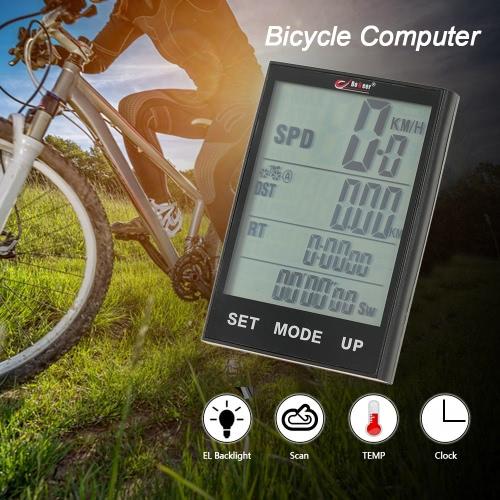 Bici della bicicletta del calcolatore del tachimetro contachilometri Temperatura retroilluminazione resistente di acqua per Ciclismo Equitazione multifunzione