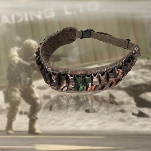 25 Toma Conchas Bandolera Cinturón de munición Titular de la bala de la cintura ajustable del protector de la correa de cintura de la pretina de caza militar cartucho de correa de la correa de equipo de supervivencia