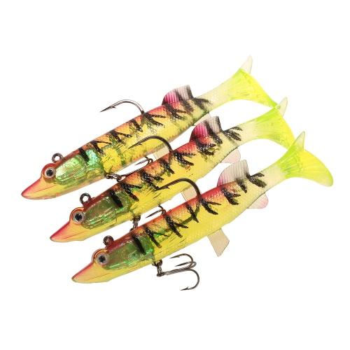3pcs 12cm / 24g Naturgetreue Angelköder Gummiköder Fischen Kit Noctilucent Lumineszente Gummiköder Set mit Bleikopf Jig Treble Haken