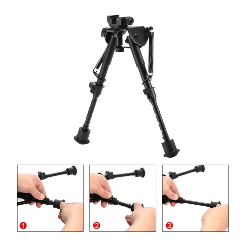 TOMSHOO 6-9 Inch Adjustable Telescopic Tactical Bipod Portable Spring Return Sniper Hunting Tool Bipod with Rail Adapter