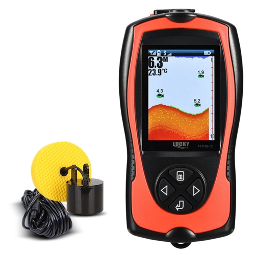 GLÜCK FF1108-1CT Tragbare Fish Finder 100 Mt / 300FT Tiefe Fisch Alarm Wired Fish Detector