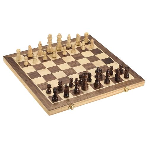 Faltbares hölzernes Schachspiel-internationales Schach-Unterhaltungs-Spiel-Schachspiel-faltendes Brett pädagogisches Schach-magnetisches Schach