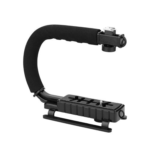 Soporte de cámara negro Soporte para grabación de video DV Soportes en forma de C Soporte para filmación Mango estabilizador
