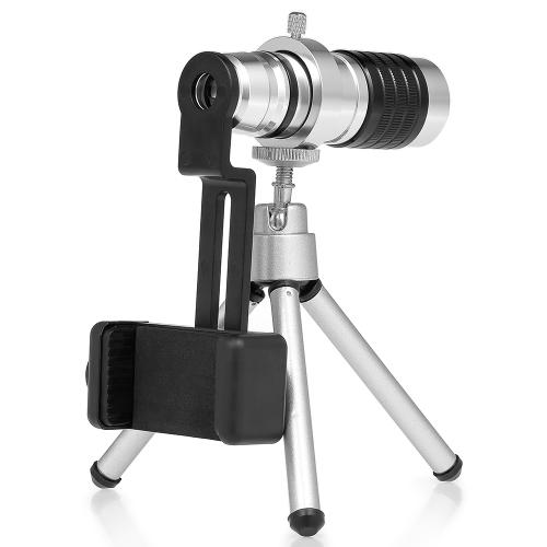 12x21 Mini Pocket Monocular Leichte Aluminium Monocular Teleskop-Bereich mit Stativ und Smartphone-Adapter-Halter
