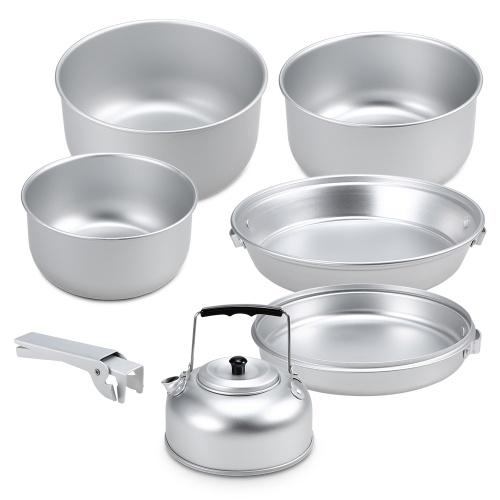 Портативный Открытый Кемпинг Набор посуды Легкий Анодированный Алюминиевый Cookset Кастрюли Чайник Набор с Ручкой