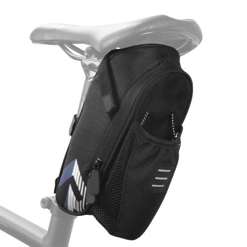 Bicycle Saddle Bag with Water Bottle Pocket Waterproof Bike Seat Bag Reflective Cycling Rear Seat Post Bag Image