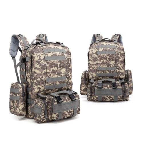 Zaino tattico militare all'aperto multifunzionale da 60L con borsa da viaggio da viaggio con borsa sportiva MOLLE Webbings