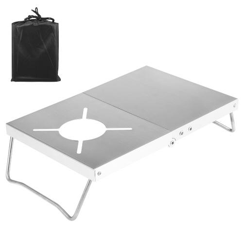 Открытый ветрозащитный складной походный стол для печи Стенд для кухонной станции Стол для кемпинга Пеший туризм Походы Пикник