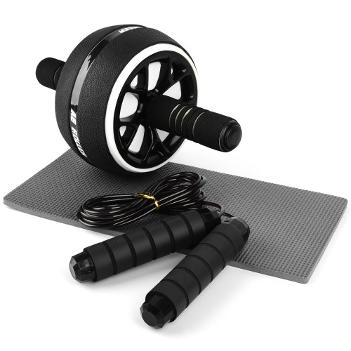 Abdominal Roller with Knee Pad Adjustable Jump Rope for Home Office Gym Fitness Workout Exercise