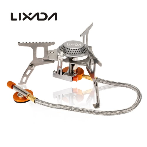 Lixada Camping Gas Stove 3000W Portable Camp Cooking Stove Split Piezo Ignition Gas Burner Outdoor Backpacking Stove with Storage Case