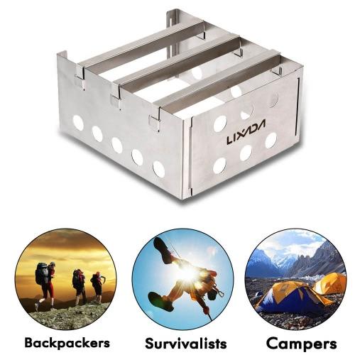 Stufa a legna leggera portatile in acciaio inox Lixada pic-nic all'aperto cucina campeggio Backpacking bruciatore