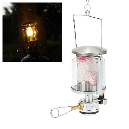 Mini tragbare Camping Laterne Lichtzelt Lampe Gasbrenner hängende Glas Lampe Schornstein mit Butan als Brennstoff 60 LUX