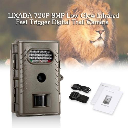 Lixada 720P 8MP Low Glow Infrarot Fast Trigger Digitale Wildkamera im Freienjagd-Spiel-Kamera 850nm IR LED Nachtsicht-Videorekorder