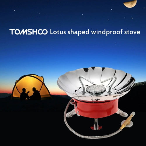 TOMSHOO 2800W Campingkocher Outdoor Portable faltbare winddicht Rucksackreisen Gas Camping-Ausrüstung für flache Butan Gaskartusche