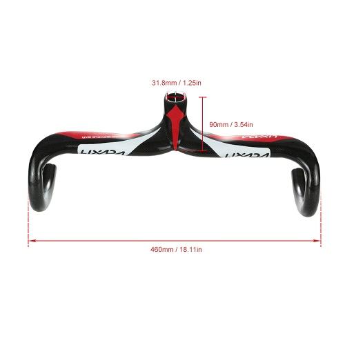 Lixada Ultra-light Full Carbon Fiber Road Bicycle Bike Integrated Handlebar Stem Handle Bar Drop Bar Glossy Finish Style Accessories Bent Bar