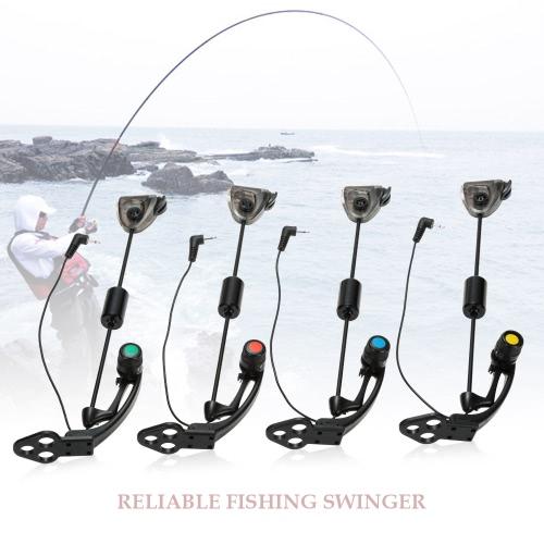 Lixada 4 PCS LED Set Percha sensor Swinger Swingers pesca iluminado en casos de mordedura de la carpa Indicador Wiggler Pesca Caza y Pesca Kit