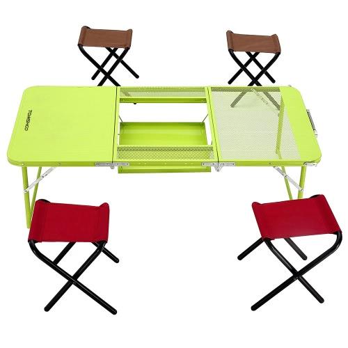 TOMSHOO due altezze Mutifunctional Combo Trible Treble tavolo pieghevole scrivania con quattro sedie di campeggio di picnic Festival