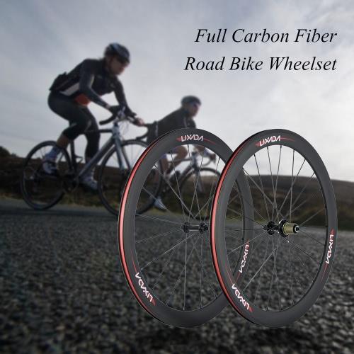 Lixada 50 millimetri 700C ClincherWheels 3K fibra del carbonio 23 millimetri Larghezza bici da strada sale montate 8/9/10/11 costi compatibili 20/24 Fori