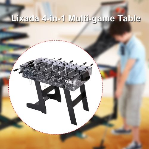 Lixada 4 In 1 Foosball Football Table Pool Table Shuffleboard Hockey Table  Multi Game Table Multi Activity Combination Game Table