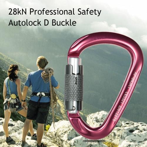 28kN Berufssicherheits D Schnalle Autolock Selbsthemmend Aluminium-Legierung Karabiner für Outdoor-Survival-Bergsteigen Klettern Caving Abseilen Rettungstechnik