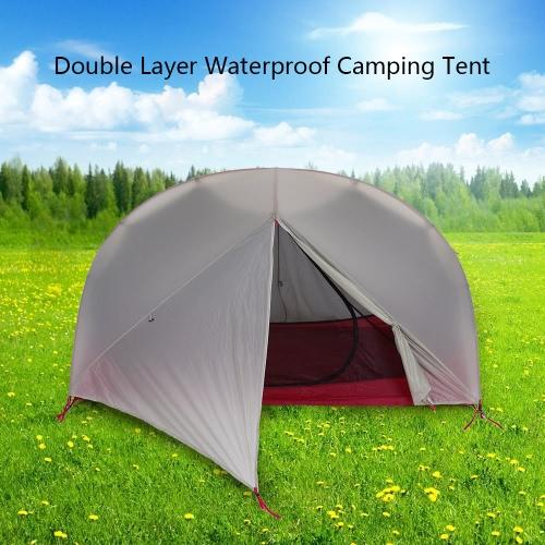 2 Persona 4 stagioni doppio strato ultraleggero tenda da campeggio impermeabile rivestimento in silicone escursione esterno che Backpacking tenda da campeggio in alluminio Rod