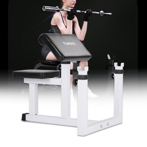 TOMSHOO ajustable asentado banco Predicador Curl bíceps Flexión de brazo Banco de ejercicio con mancuernas aislado Barra estante