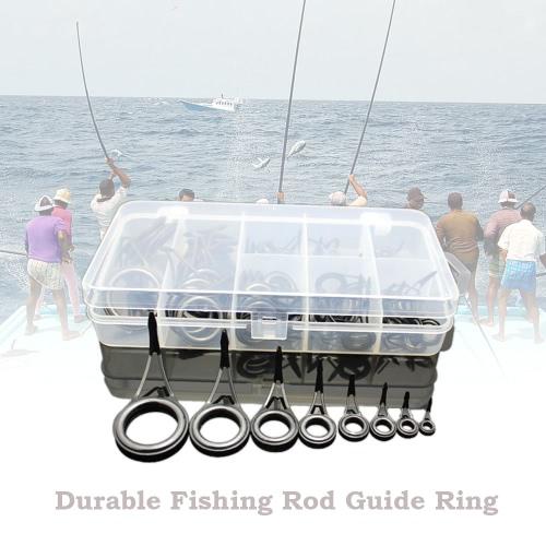 75pcs varios tamaños Pesca varilla guía Tip línea de pesca Spinning Guía Eyes los anillos Tip Top reparación del kit del sistema