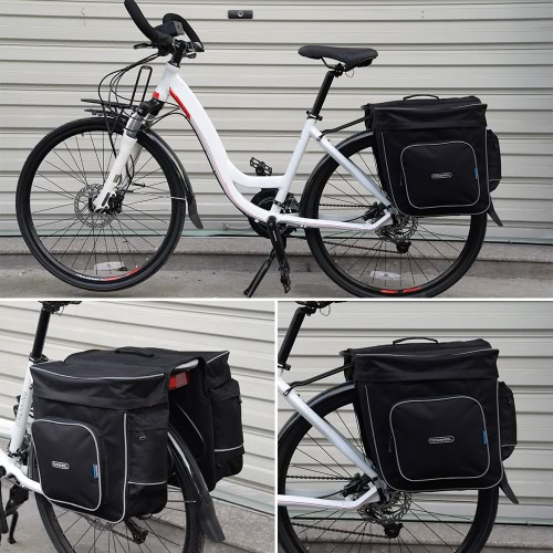ROSWHEEL Cycling 2 in 1 30L Bicycle Black Rear Double Side Rack Bag Tail Seat Pannier Outdoor Cycling Saddle Storage Image