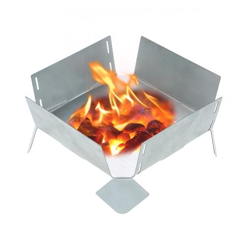 Placa plegable portátil del tenedor del pote del acero inoxidable con el quemador de la estufa del alcohol del combustible sólido de la bandeja