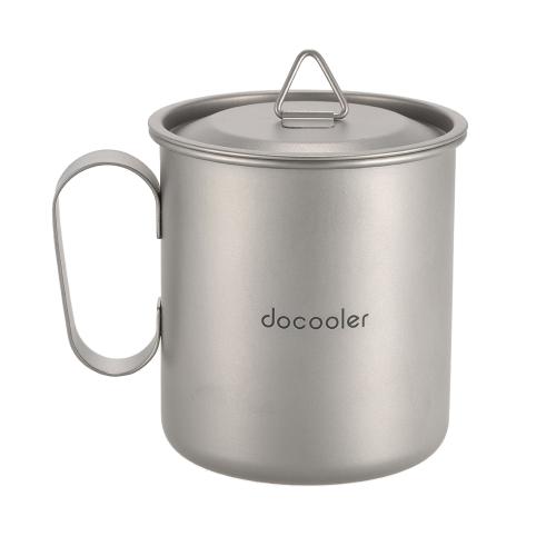 Docooler 420ml Titan Tasse Tasse Outdoor Leichte Camping Tasse mit Griff Deckel Storage Sack