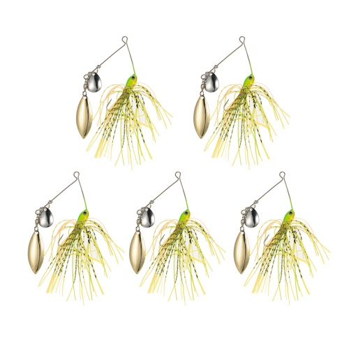 5pcs 14g Pesca señuelos de pesca cebos artificiales Spinners Kit de gancho plantilla Willow Colorado Spinnerbaits Bass bagre Cuchara Lentejuelas Señuelos
