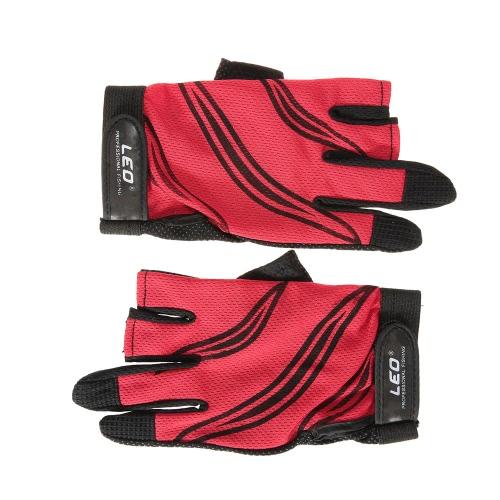 LEO 1 par Guantes de pesca transpirable antideslizante 3 sin dedos guantes de la pesca Deportes al aire libre Ciclismo Camping Correr