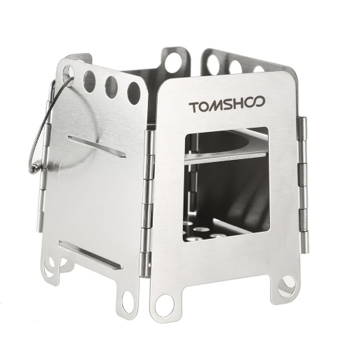 TOMSHOO Stainless Steel Folding Stove Portable Pocket Stove Lightweight Wood Burning Camping Stove Outdoor Picnic Backpacking Equipment