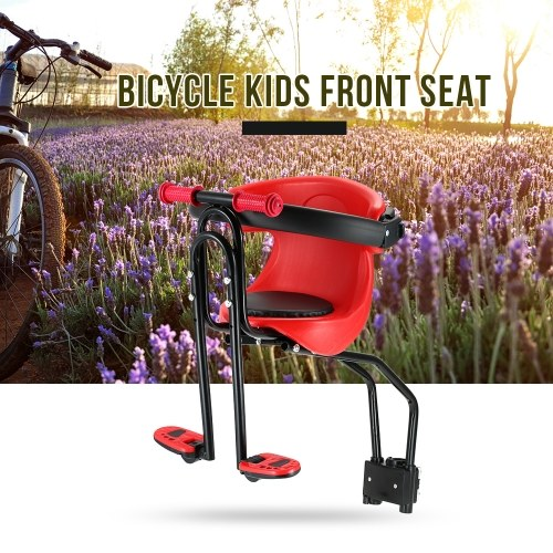 Bicycle Baby Seat Kids Child Safety Carrier Front Seat Saddle Cushion with Back Rest Foot Pedals Image