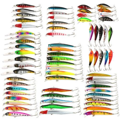 Confezione da 68 pz Richiamo di Pesca Mista Kit Minnow Esche Crankbaits Artificiale Richiamo Duro Esca Bass Carp Fishing Tackle