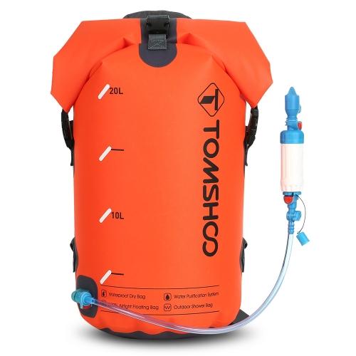 TOMSHOO 30L Sacchetto filtro acqua per purificare l'acqua all'aperto Depuratore d'acqua alimentato a gravità Sacca a secco galleggiante Sacca a sacco impermeabile Doccia esterna Viaggi Rafting Canottaggio Kayak Canoa Camping
